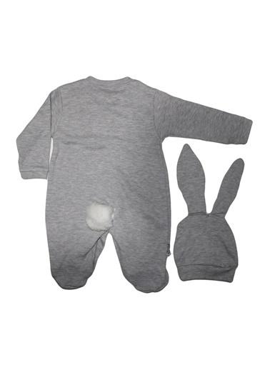 By Bebek Odam By Bebek Odam Bisiklet Yaka Uzun Kol Ponponlu Şapkalı Tavşanlı  Bebek Tulum Beyaz